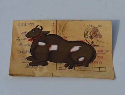 A Lovely Old Rajasthan Miniature Painted Indian Postcard Of A Nandi Cow No 164