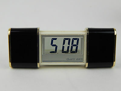 Vintage Lcd Fold Out See-Through Clear Quartz Alarm Clock New Battery