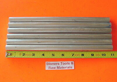 """6 pieces 1/2"""" ALUMINUM 6061 ROUND ROD 11"""" long Solid .500"""" T6511 Lathe Bar Stock"""