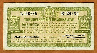 Gibraltar, 2 shillings, 1914, P-6, WWI, F+ Rare
