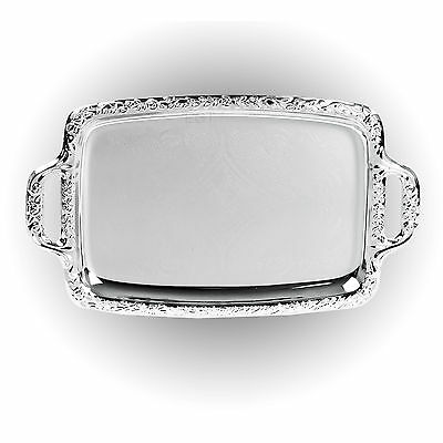 Silver Effect Serving Tray Platter Mirror Polished Table Metal Dinner Dish Plate