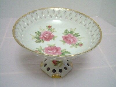 Antique Lefton China Reticulated Compote Rose Pattern Bowl - Circa 1949-1955