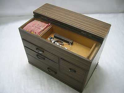 Vintage Kiri Wood SEWING Box Japanese Drawers Circa 1930s #290