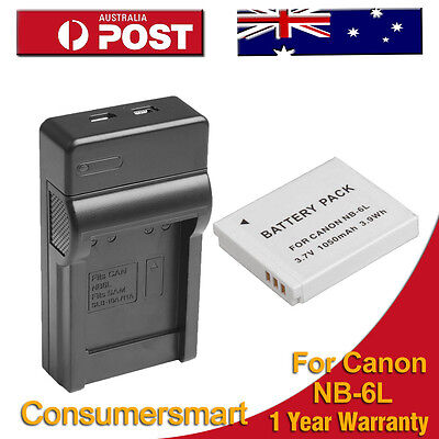 Battery + Charger for Canon NB-6LH PowerShot D10 S90 S95 IXUS 105 IS 1000 HS
