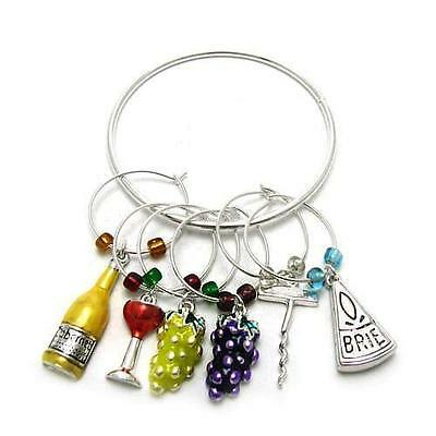 Set of Six Wine Lovers Wine Charms and Bottle Ring