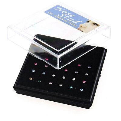 24Pcs Percing Nez Pneu Diamant Chic Coloré Nose Ring Mode Fashion 7x1MM Cadeau
