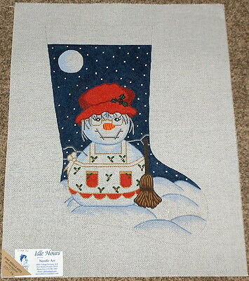 Mrs Snowman w/ Holly Apron Handpainted Needlepoint Christmas Stocking Canvas