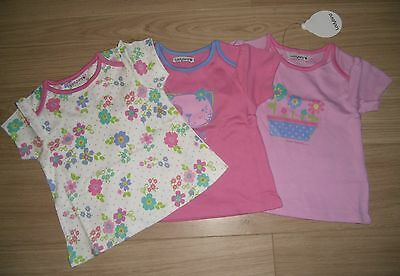 **BNWT** LADYBIRD PACK of 3 TOPS / T-SHIRTS ~ 100% COTTON ~ PINK ~ 3-6 months