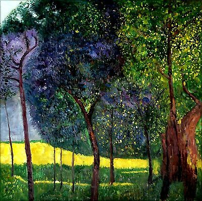 Gustav Klimt Fruit Trees  II Repro, Quality Hand Painted Oil Painting 36x36in
