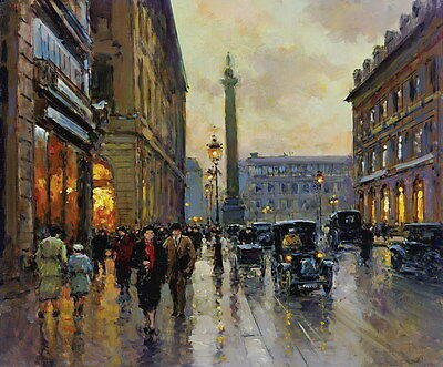 """Canvas Print Paris Street oil painting Picture Printed on canvas 16""""x20"""" P102"""