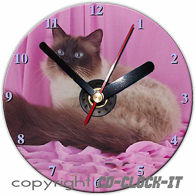 Brown & White Birman Cat Wall/Desk CD Clock & Stand Plus Personalised Message