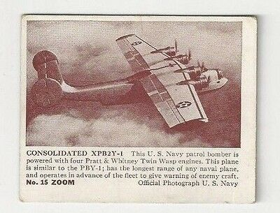 Vintage 1941 Zoom Chewing Gum Trading Card #15 Consolidated XPB2Y-1 Bomber