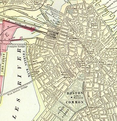 1911 Antique BOSTON City Map   Collectible 1900s Vintage Map