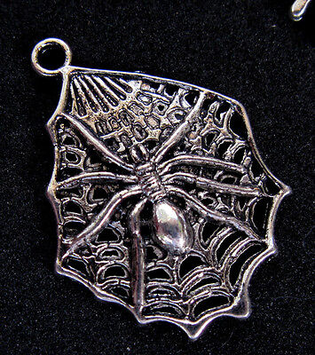 Spider web Silver Pendant Charm GOOD LUCK ~ LUCKY SYMBOL GOTHIC Necklace Antique