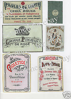 Vintage Ladies French Perfume Soap Label Collage   PH57