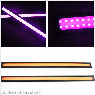 2 Pcs Aluminum Car LED 17CM COB Purple Pink DRL Driving Running Fog Light Strips