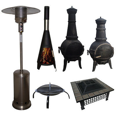 Outdoor Garden Patio Heater Chimnea Fire Pit Open Heat Gas Charcoal Fuel Burners