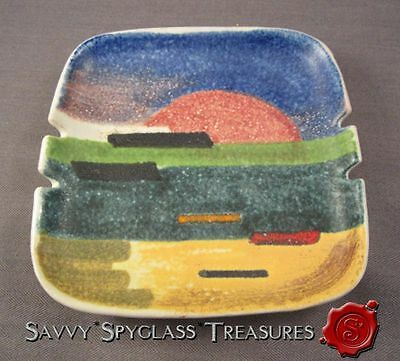Colorful Mid Century Modern Raymor Italy Pottery Sunset Ashtray