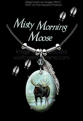 """MISTY MORNING MOOSE NECKLACE for MALE or FEMALE - 24"""" LEATHER ART WILDLIFE  MML*"""