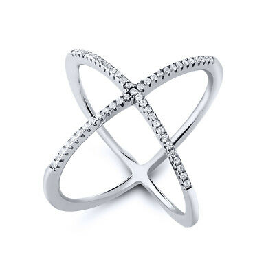"925 Sterling Silver White CZ Criss Cross Single ""X"" Long Ring Sizes 5 to 9"