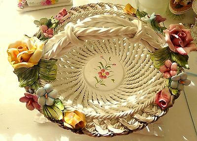 Vintage Capodimonte Large White  Floral Basket with Pink & Yellow Roses Leaves