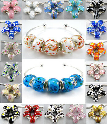 Lot 5Pcs Silver Murano Glass Beads Lampwork Fit European Charms Bracelet