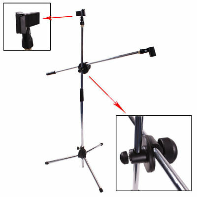 Tripod Microphone Stand Boom Folding Type Mic Holder + Clip Adjustable 2M