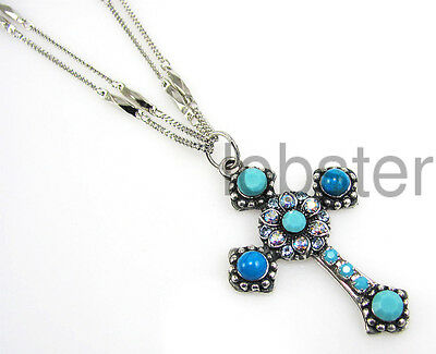 MARIANA BLISS SILVER CROSS NECKLACE SWAROVSKI CRYSTAL CARIBBEAN BLUE OPAL 2015
