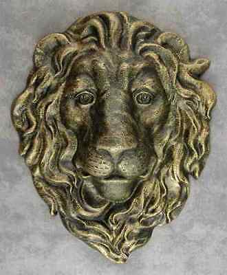 MAJESTIC LION HEAD Cast Iron WALL SCULPTURE ~ANTIQUED GOLD OVER DARK GREEN~