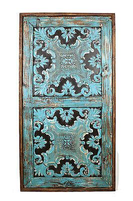Sevilla Rustic Architectural Wall Window-Wood & Tin-Home Decor-31x57-Turquoise
