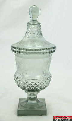 Victorian Clear Fine Cut Glass Covered Compote Dish Wheel Cut Etched Flowers