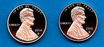 2014 S AND 2015 S Proof Lincoln Cents- Gem Proof Deep Cameo-TWO COINS-In Stock
