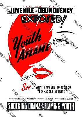Movie Wall Art Poster Vintage Youth Aflame Drama Film Various re-print