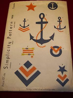 EXTREMELY RARE 1935 SIMPLICITY #1806-ANCHOR - MILITARY MOTIFS TRANSFER PATTERNuc