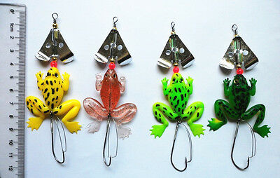 Lot 4pcs Rubber Frog Soft Fishing Lures Bass CrankBait Tackle New 4 Colors FEEL