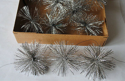 rare box with 12 old German tinsel stars, factory stock