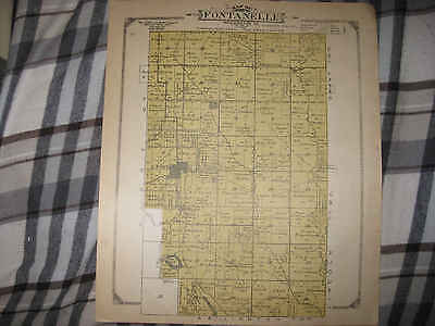 ANTIQUE 1909 FONTANELLE LINCOLN TOWNSHIP WASHINGTON COUNTY NEBRASKA MAP RARE NR