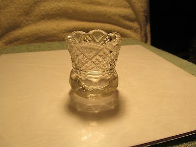 """Nice 2 1/2"""" tall heavy clear pressed glass toothpick holder."""