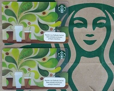 "2 ""How to Make Coffee"" late2014. BRASIL Mint Starbucks Cards 