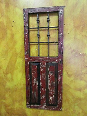 Durango Rustic Architectural Wall Window-Wood & Iron-Home Decor-18x48-Red