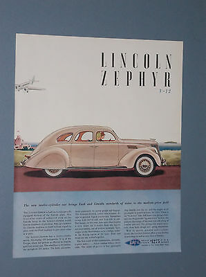 1936 Lincoln Zephyr V-12 Auto Ad