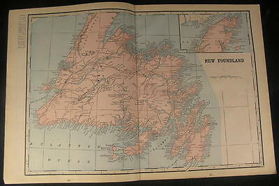 New Foundland Canada Conception Bay Notre Dame 1899 antique detailed color map