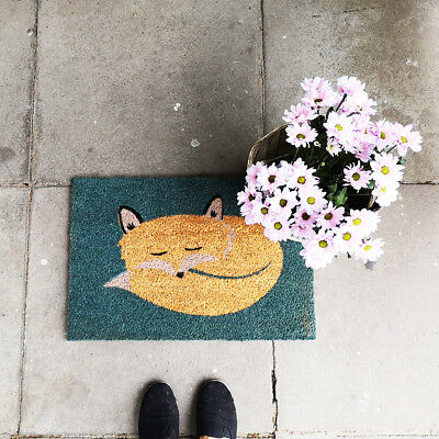 New Large Fox Anti Slip Entrance Floor PVC Doormats Natural Coir Front Door Mats