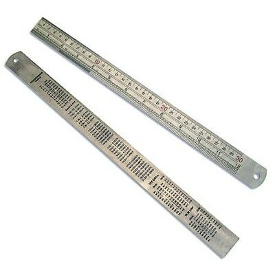 """12"""" 300mm STAINLESS STEEL RULER RULE - DUAL MARKINGS CONVERSION TABLE ON BACK"""