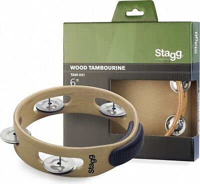 """Stagg TAW-061 Wooden Hand 6"""" Percussion Tambourine"""