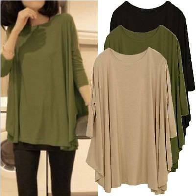 Women Ladies 3/4 Sleeve Loose Oversized Tops T Shirt Blouse Maternity Clothing