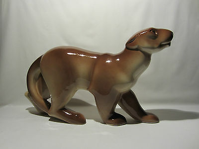 Ancienne Statue Animaliere Panthere Geo Conde Ceramique St Clement