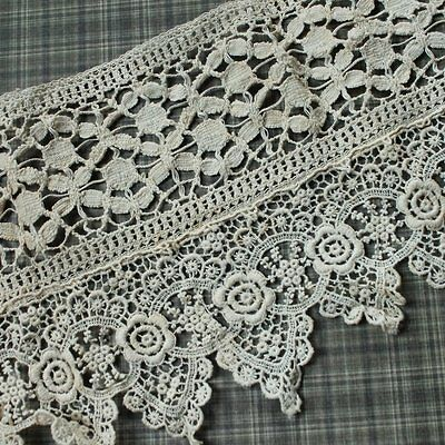 Vintage charming piece of Off-white cotton embroidered flower lace