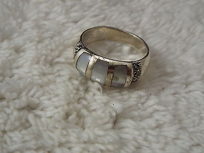 Sterling Silver Opalite Marcasite Band Ring - Size 8.5 (C62)
