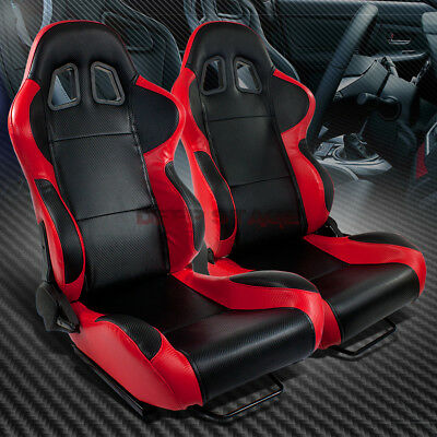 Full Reclinable Left+Right Red/black Trim Pvc Leather Sport Bucket Racing Seat